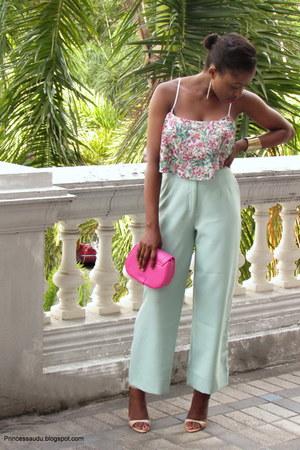 Thrift Store pants - floral print Bershka top - nude Zara sandals