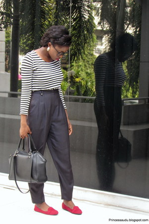 black H&M bag - high-waisted vintage pants