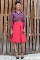 plaid street market shirt - black studs Forever 21 pumps - thrifted skirt