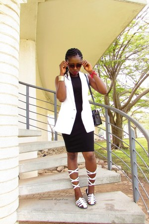 white vintage vest - black dress lbd Zalora Thailand dress - GafaSandals sandals