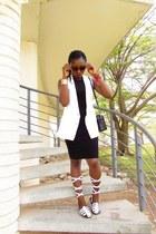 white vintage vest - black dress lbd Zalora Thailand dress - GafaSandals sandals
