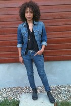asos boots - Zara jeans - Levis jacket - Topshop blouse - fashionology necklace