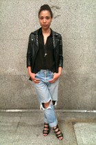 Levis jeans - asos jacket - Topshop blouse - asos wedges - fashionology necklace