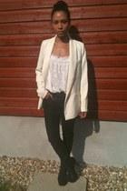 Zara jeans - Silence & Noise jacket - Zara top - Jeffrey Campbell heels