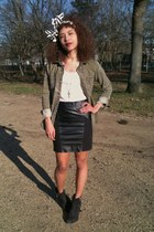 camaieu skirt - Topshop boots - Zara shirt - Petit Bateau vest
