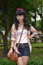 peach top - red scarf - tawny bag - navy shorts - dark brown belt