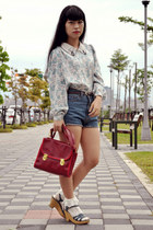 ruby red bag - blue shorts - light blue blouse
