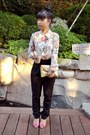 Black-high-waisted-tailored-pants-light-orange-prints-tailored-blouse