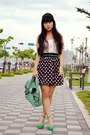 Teal-bag-black-polka-dots-skirt-light-pink-floral-print-top