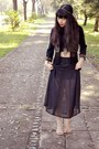 Black-cropped-vintage-top-black-maxi-vintage-skirt