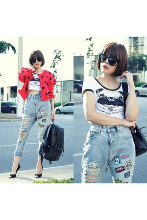jeans - jacket - bag - sunglasses - hair accessory - t-shirt