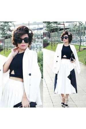 blazer - sunglasses - top - skirt - hair accessory