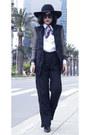 Hat-blazer-scarf-sunglasses-pants
