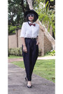 White-romwe-blouse-black-romwe-pants-mustard-nouvelle-store-ring