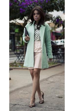 aquamarine coat - light pink vinyl skirt - off white blouse