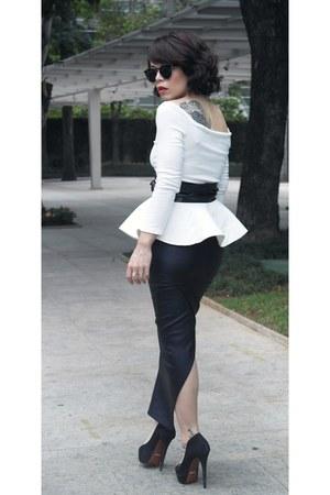 blouse - belt - skirt - heels