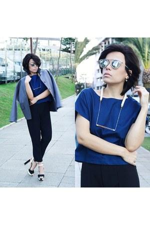 necklace - sunglasses - pants - t-shirt - heels