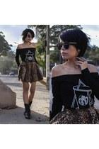 black romwe shirt - brown romwe skirt