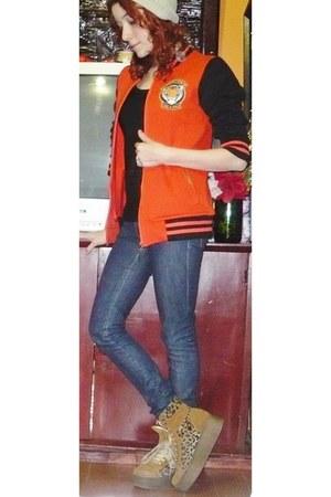 orange MuaA hoodie - blue Falabella jeans - beige DIY hat - black t-shirt