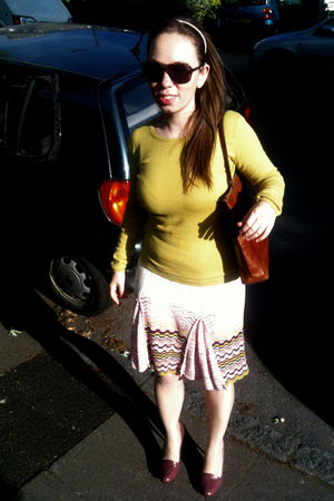 purple Miu Miu shoes - purple Missoni skirt - green Guess sweater - brown Arezzo