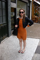 black Zara blazer - black Gap shoes - orange Topshop dress