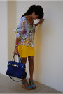 blue leather Michael Kors bag - denim blue H&M wedges - yellow banana republic s