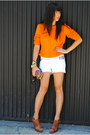 orange Zara sweater - clutch Fossil bag - white studs DIY shorts - brown Miss Si
