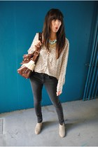H&M blouse - Dolce Vita boots - Rebecca Minkoff bag - banana republic necklace