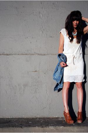 Miss Sixty wedges - Buffalo Exchange dress - DIY denim vest vest