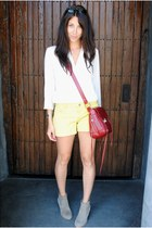 Rebecca Minkoff bag - Dolce Vita boots - Elizabeth &James shirt - Gap shorts