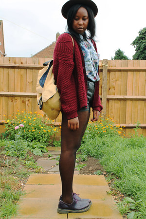 crimson ark cardigan - deep purple Dr Martens shoes - brown River Island hat