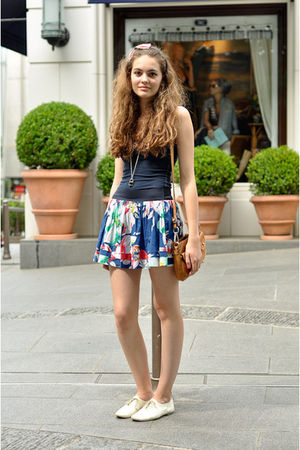 blue skirt - white shoes