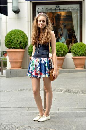blue skirt - white shoes