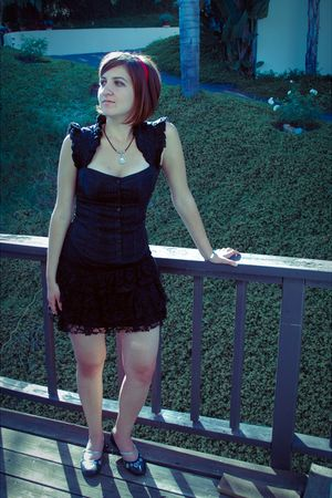 black Macys top - black H&M skirt - black shoes - red accessories - silver Disne