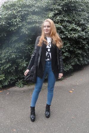 leather Goosecraft jacket - black asos shoes
