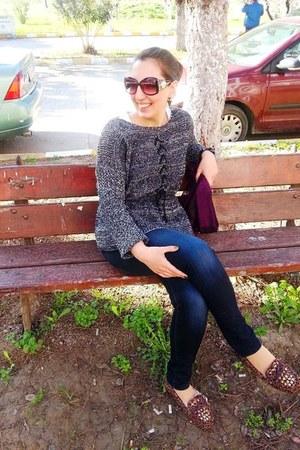 navy Mavi jeans - dark brown flo flats - charcoal gray Choies jumper