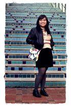 black Wet Seal jacket - black thrifted skirt - beige thrifted sweater - white Ga