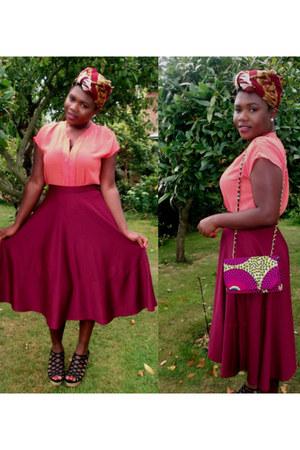 purple ankara print Mak Nisy bag - maroon midi asos skirt