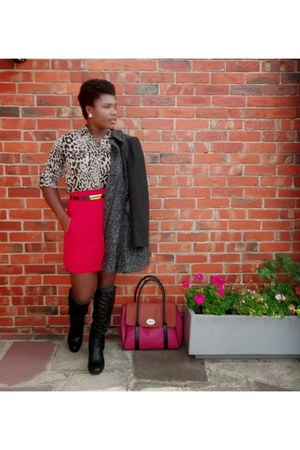 red a-line AWear skirt - ruby red stylistpick bag