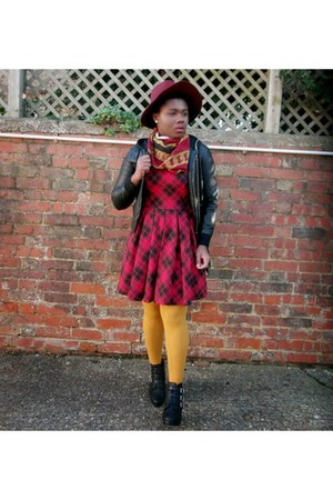 brick red tartan new look dress