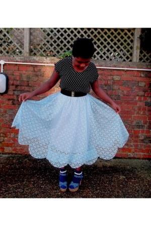 sky blue lace vintage skirt - black polka dot Peacocks top