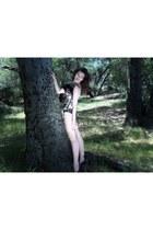 Deborah Lindquist blouse - leg avenue stockings
