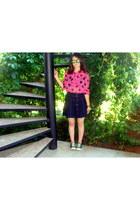 hot pink polka dot bow second hand blouse - navy denim second hand skirt