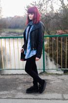 black creepers Demonia shoes - light blue denim vintage shirt