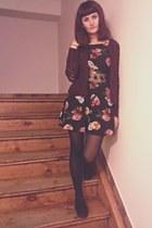 black second hand dress - maroon second hand cardigan