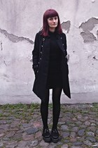 black cashmere wool Jaeger London dress - black creepers Demonia shoes