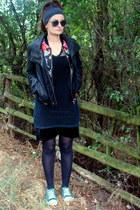 black velvet second hand dress - black fishnet Diesel top