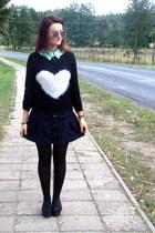 black gift sweater - white StaffbyMaffcom shirt - navy second hand skirt