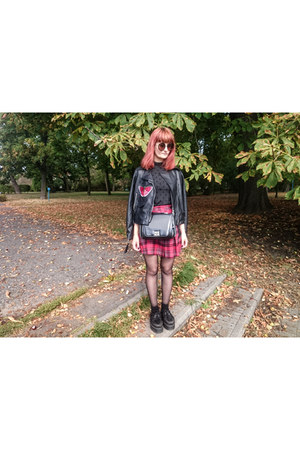 black Rosegal jacket - black creepers Demonia shoes - ruby red second hand skirt