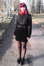 black creepers Demonia shoes - black second hand skirt